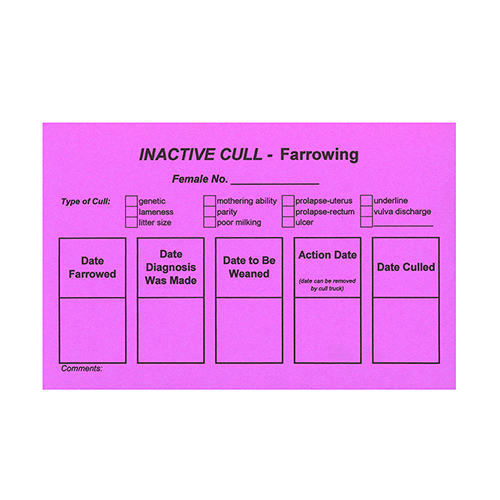 FOC: Inactive Cull Card - Farrowing